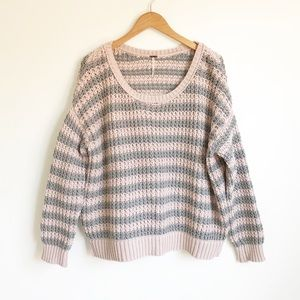 FREE PEOPLE Pink Gray Stripe Chunky Knit Sweater